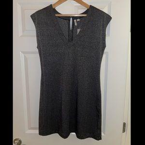 V neck gray dress with shimmer